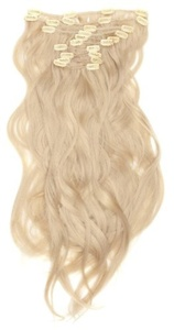 Love Hair Extensions Thermofibre - 10pc Full Head Clip In Set - Silky Straight - Length 18/46cm, Colour 22 - Beach Blonde by Love Hair Extensions