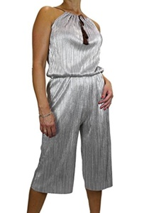 ICE (6488-1) Metalic Culotte Jumpsuit Pewter Silver