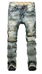 Plaid&Plain Men's Vintage Zipper Patches Slim Destroyed Ripped Jeans Denim Pants LightBlue 36