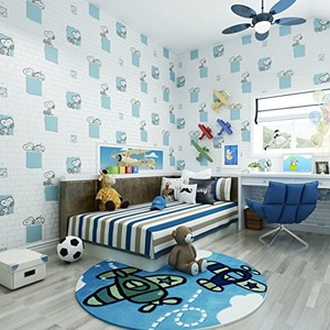SBWYLT-Cute children's room Snoopy brick foamed non-woven wallpapers living room bedroom dining room background wallpaper , 10 meters *0.53 meters