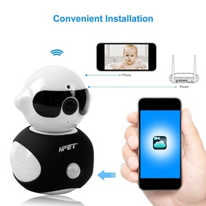NPET Mini Robot Home Security Surveillance Wireless IP Camera HD WiFi Built-In Microphone with Night Vision for Pet Baby Video Monitoring