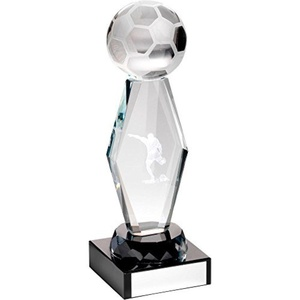 JR1-TD721M Clear Glass Lasered Football Column On Black Base Trophy - 7.25in Includes Free Engraving (Up to 30 Characters) by Lapal Dimension