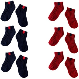 October Elf 6 Pairs Candy Color Cotton Non-Skid Walking Socks for Unisex Baby Kids (M, B)