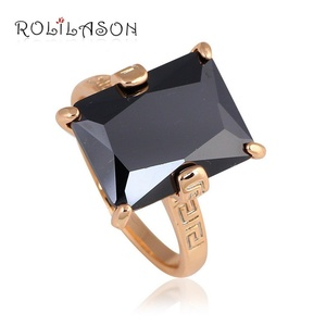 Cherryn Jewelry Mysterious for Ladies Black Gold Plated Crystal Fashion Jewelry Ring 6 7 8 9 10 JR2075