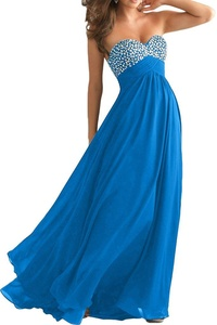 Vienna Bride Sweetheart Beaded Strapless Long Chiffon Party Evening Dress-8-Blue