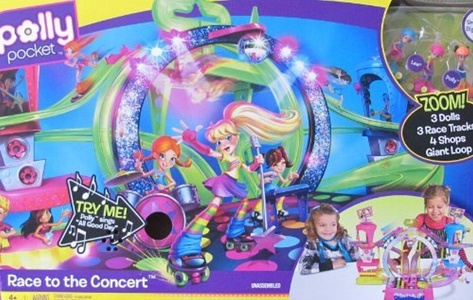 Polly Pocket RACE to The CONCERT Playset w SOUNDS, 3 DOLLS, 4 SHOPS & More! (2010) by Polly Pocket