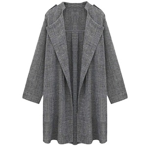 Cluis Women's Fold Sleeve Open Front Trench Coat Cardigan Gray S