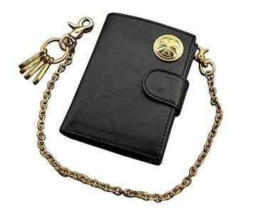 Brass Iron Cross Men's Vintage Genuine Leather Money Clip Bifold Wallet Chain