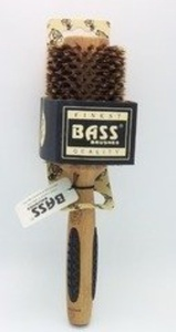 Bass Brushes Brush - Large Round 100% Wild Boar Bristles Long Hair Styles Light Wood Bass Bru by Bass Brushes