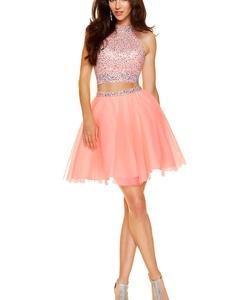 YinWen Women's A Line 2 Piece Beaded Bodice Short Homecoming Dress Size 10 US Light Pink