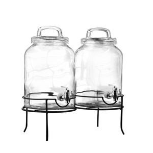 Style Setter 210220-GB Savannah Double Beverage Dispenser with Metal Stand, Clear