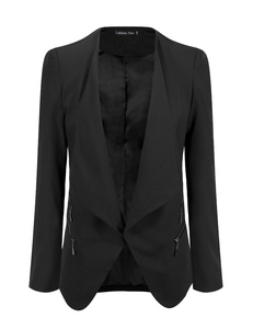 LookbookStore Women's Plus Size Black Draped Business Casual Zip Blazer Jacket 14W