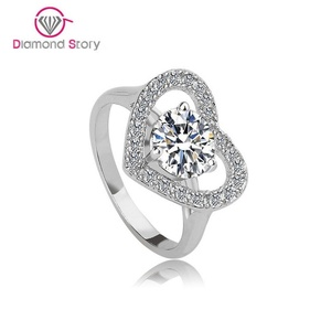 Cherryn Jewelry White Gold Plated Heart Shaped Cubic Zirconia with Micro CZ Cluster Setting Engagement Ring S008