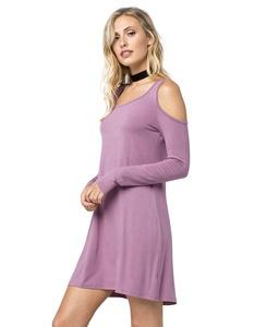 EYESHADOW Cold Shoulder Dress, Mauve, Large