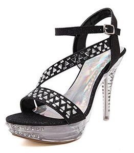 CHFSO Women's Fashion Stiletto Rhinestone Buckle Ankle Strap Open Toe High Heel Platform Gladiator Sandals Black 8 B(M) US