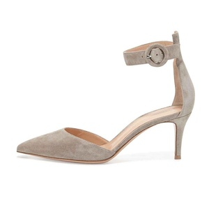 Eldof Women's 65mm Mid Heel Pointed Toe Ankle Wrap Pumps D'Orsay Buckle Fastening Kitten Heel Shoes Gray US12