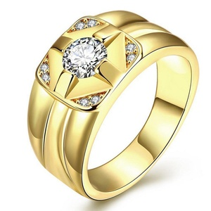 GemMart Jewelry Men Jewelry Gold Plated Ring Fashion Jewelry Rhinestone Allah Ring For Men Invisible Setting Trendy Ring Men 3colors