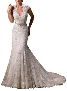 jinmu Women's Wedding Dresses Mermaid Lace Appliques Beaded Bridesmaid Gowns (26 Plus, Ivory)