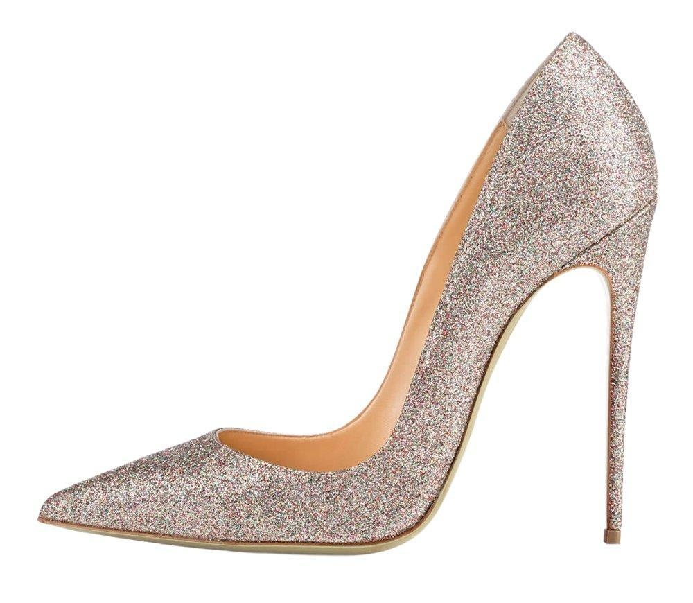 Maovii Women's Fashion Stiletto Heel Pointed Toe Sequined Glitter Court Shoes for Wedding Party Dress 10.5 M US A-Silver