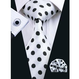Hi-Tie Mens White Polka Dots Silk Tie Hanky Cufflinks set (white)