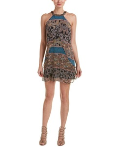 Lavender Brown Womens Layered Chiffon Silk Shift Dress, Xs, Black