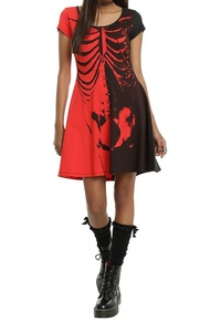 Pink Queen Women's Novelty Skelton Crewneck Shift Skull Printed Dress