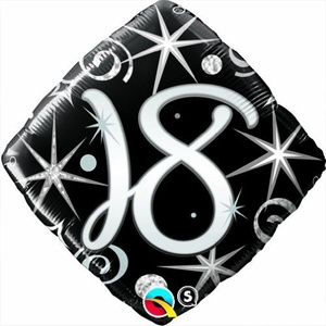 Qualatex Black & Silver Elegant Sparkles & Swirls 18th Birthday 18 Foil Balloon by Black/Silver/White Balloons & Decorations