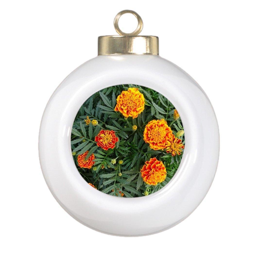 Custom christmas ball ornaments - Personalized Christmas Ball Ornaments French Marigolds Customized Ball Ornaments Flower
