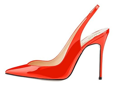 Maovii Women's Big Size Pointed Toe Elastic Sling Back Cut-Out Sandals Work Office Party Pump High Heel Court Shoes 10.5 M US Orange Red