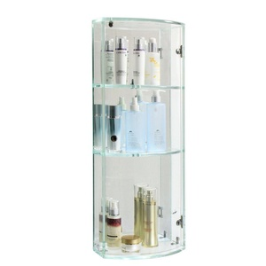 BRIGHT WOOD Crystal Glass Storage Shelf Cabinet