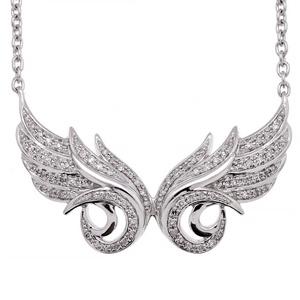 IGI Certified 14K White Gold Double Angel Feather White Diamond Pendant Necklace (0.21 Carat)