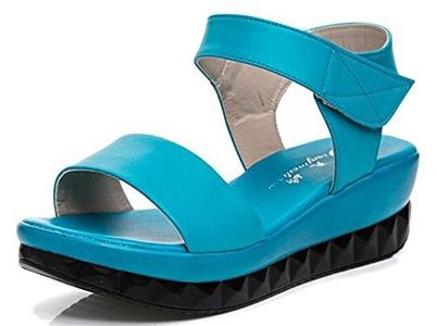 CHFSO Women's Casual Solid Open Toe Velcro Mid Wedge Heel Platform Beach Sandals Blue 4.5 B(M) US