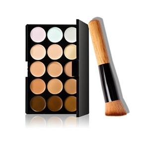 Mostsola 15 Colors Concealer Palette with Foundation Makeup Brush