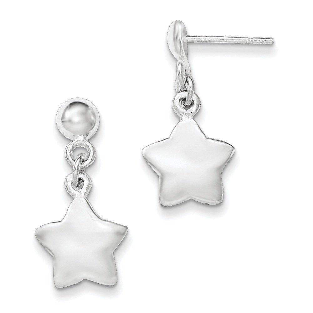 .925 Sterling Silver 22 MM Polished Star Dangle Post Stud Earrings