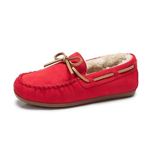 Camel Women's Fur Lined Warm Comfort Moccasin Loafer Slipper Color Red Size 36 M EU