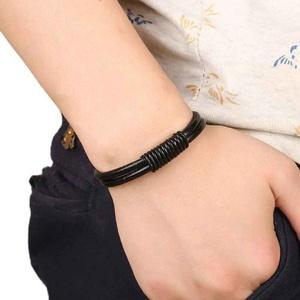 Bracelets,UPLOTER Leather Bracelets Unisex Bracelets Cowhide Bracelets Wrist Chains (Black)