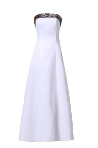 MILANO BRIDE Stylish Wedding Party Dress With Camo Strapless Ankle-Length Watteau-10-White&Camo