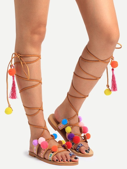 Multicolor Decorated Lace-up Sandals