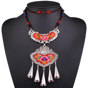 ARICO Ethnic Bohemian Necklace Boho Jewelry Embroidery Rope Chain Long Pendant Necklace Alloy Tassel Necklace NB486