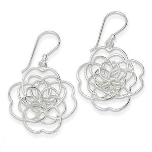 .925 Sterling Silver 32 MM Open Wire Flower Dangle Shepherd Hook Earrings