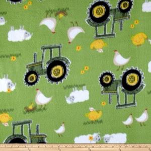 John Deere Nursery Fleece Sheep Bird Tractor Green Fabric By The Yard