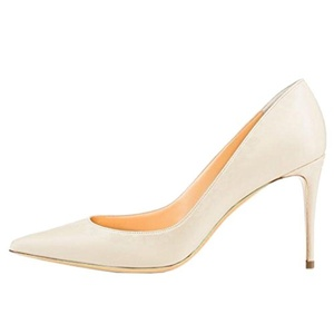 Lovirs Womens Pointed Toe High Heel Stiletto Solid Color Patent Leather Beige PU Pumps Wedding Party Shoes 6 M US