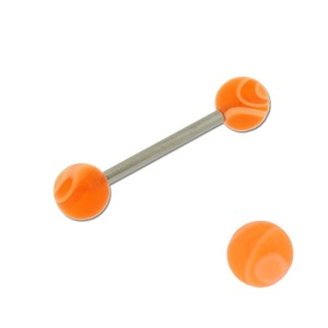 Acrylic Barbell Tongue Ring with Orange Marble Ball