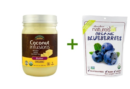 NOW Ellyndale Organics Coconut Infusions Butter -- 12 oz, ( 3 PACK ), Nature's All Foods Organic Freeze-Dried Raw Blueberries -- 1.2 oz