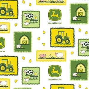 John Deere Farm Scenic Tractor White Fabric From Springs Creative By the Yard