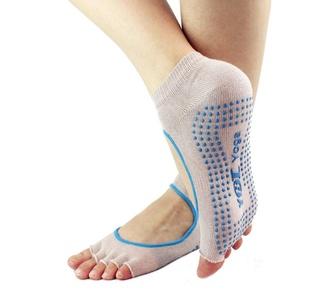 Yoga Socks Non Slip Grip with Silicone Dots 5-Toeless Fitness Socks (grey)