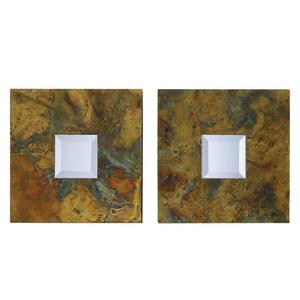 Oxidized Copper Squares Decorative Wall Mirrors Set of 2