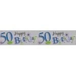 Happy 50th Birthday Party Giant Wall Banner 3 Banners Age 50 Party Decoration by The fancy dress and party store