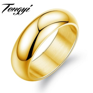 Slyq Jewelry Fashion 316L Stainless Steel Ring 7MM Wide Classic Cool Gold Plated Wedding Bands Ring for Men Jewelry TY334J