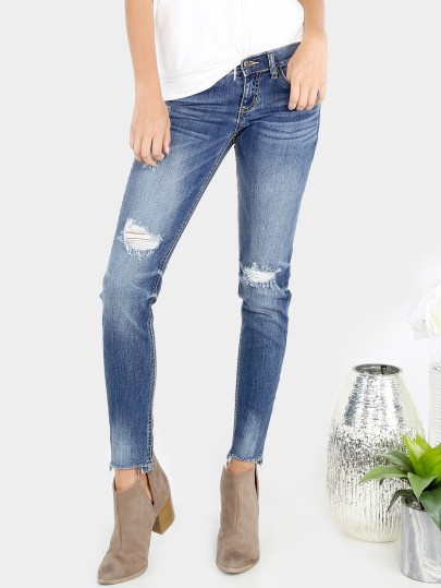 Medium Washed Frayed Skinny Denim